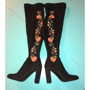 Steve Madden Over the Knee Embroidered Boots